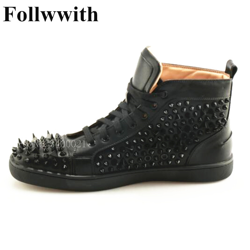 2018 Follwwith Brand High Top Style Flats Irregular Spike Rivets Black Leather Sneakers Men Casual Shoes Lace Up Plus Size 46 недорго, оригинальная цена