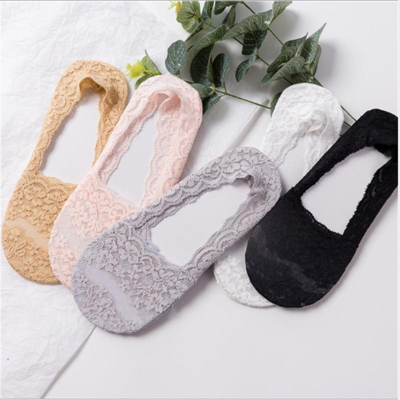 Fashion Women Girls Summer Style Lace Flower Short Sock Antiskid Invisible Ankle Socks Silica Gel Lace Boat Socks Anti-Slip Sock
