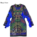 Top Quality  Women's Long Sleeve Luxury Colorful Diamonds Beading Tassel Bodycon Dress 170106WG02