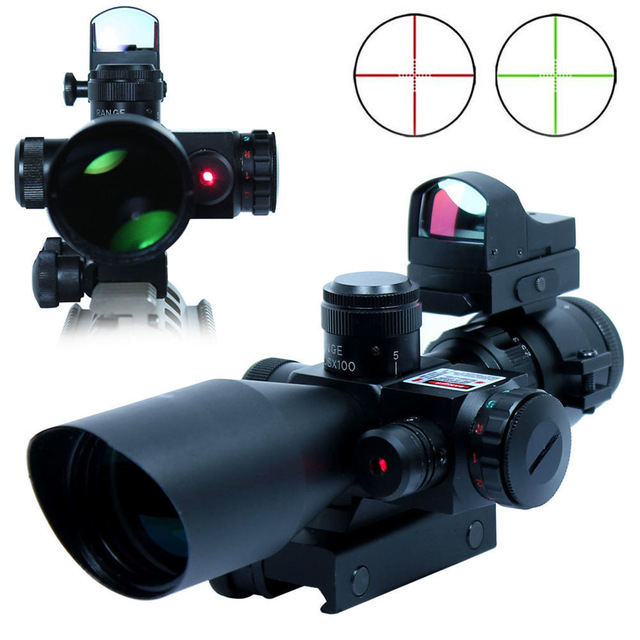 Tactical Scope 2.5-10X40 Riflescopes Combo Hunting Rifle Scope w/ Red Laser & Mini Reflex 3 MOA Red Dot Gun Weapon Sight 3 9x40 tactical hunting 3 in 1 combo rifle scope with red laser