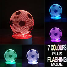 Football club LED Touch Lamp Soccer 3D Visual lights Desk Lamp 7 Different Colour Leds Mood Night Light Walk Sticker Gifts Decor(China)