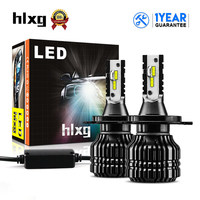 HLXG 2pcs 52W 9000LM H4 LED Bulb High Low Beam Auto Headlight CSP Chips 6000K Automobile