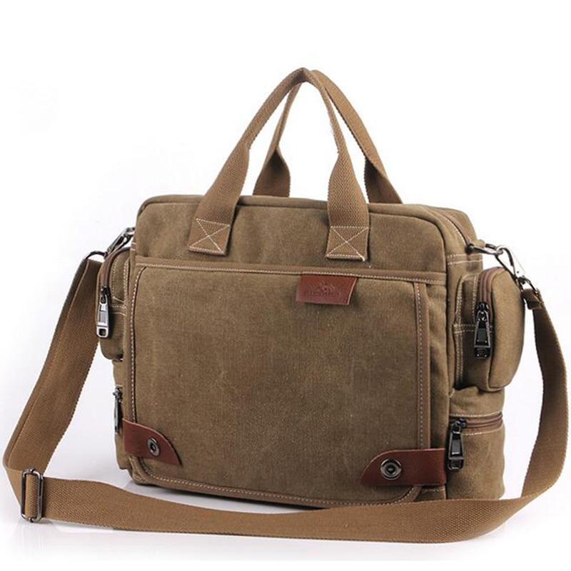 New Brand Canvas Business Briefcase Handbag Men's Bag Retro Large Quality Shoulder Travel Bags Multifunction Vintage Laptop Bag