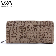 Walk Arrive Genuine Leather Women Wallet Embossed Leather Purse Brand Design Clutch Wallet Money Bag Fashion