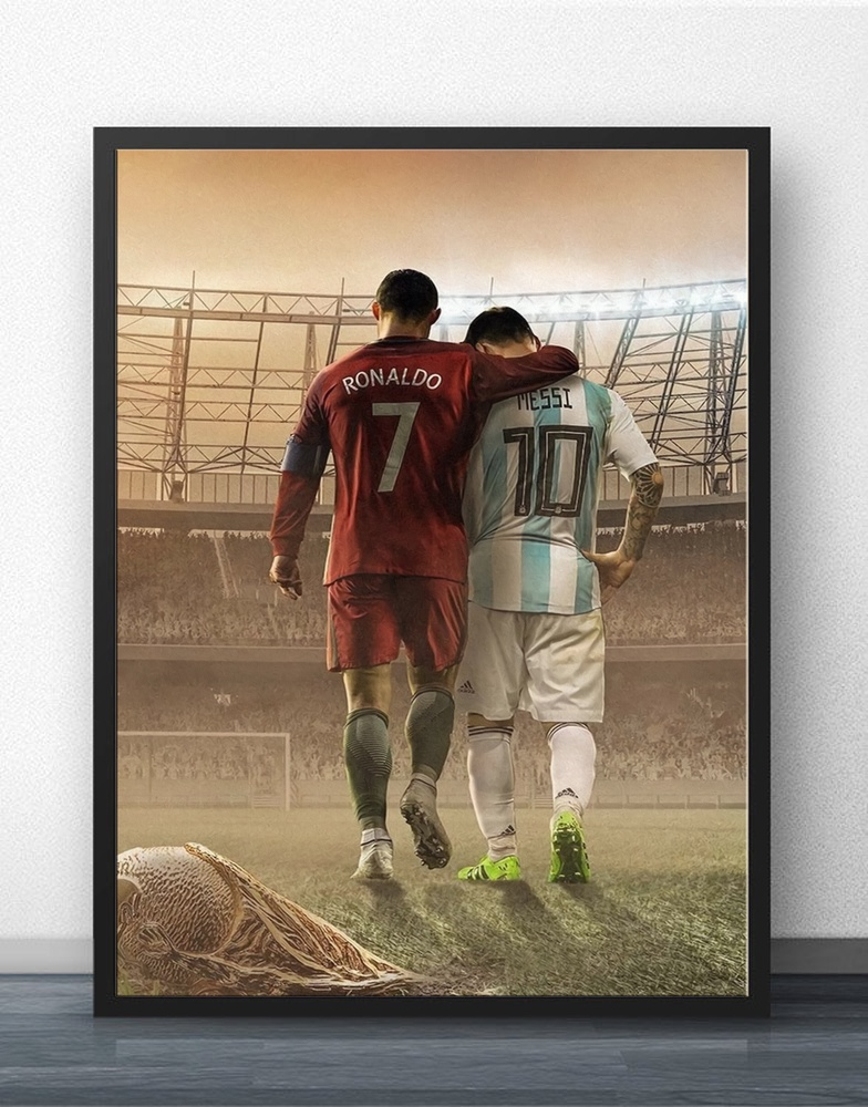 Lionel Messi And Ronaldo Football Player Wall Art Wall Decor Silk Prints Art Poster Paintings For Living Room No Frame