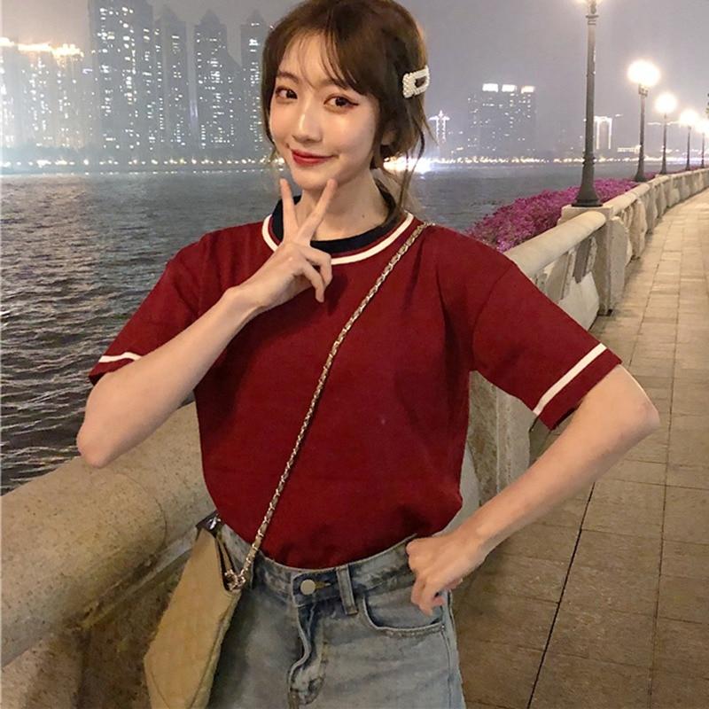 2019 Summer T shirts Women Fashion Patchwork Short Sleeve Tshirt Wild Korean T Shirt Casual O Neck Loose Tops Women Clothing in T Shirts from Women 39 s Clothing
