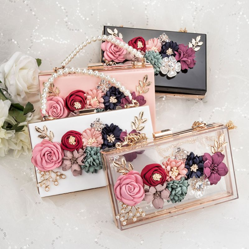 Women Acrylic Flower Clutches Crossbody Floral Purse Beaded Evening Bags For Wedding Prom Party Luxury Handbags Women Bags 2019