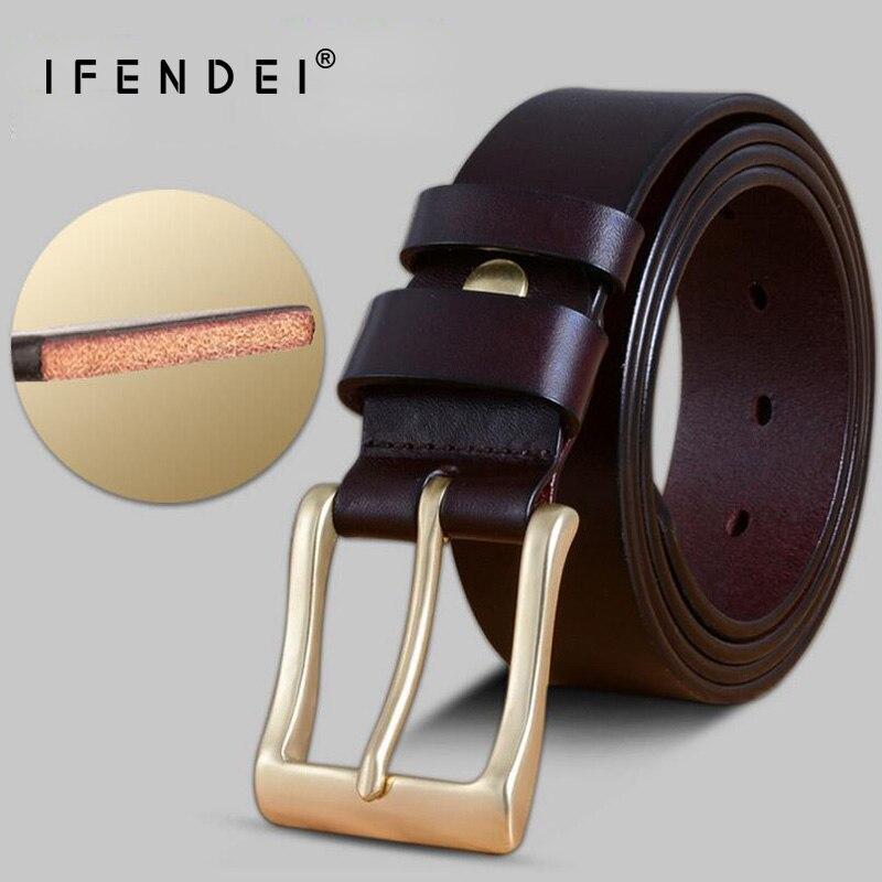IFENDEI Luxury 100 Genuine Leather Belts Waist Men s Belt First Layer Cow Skin Strap Solid