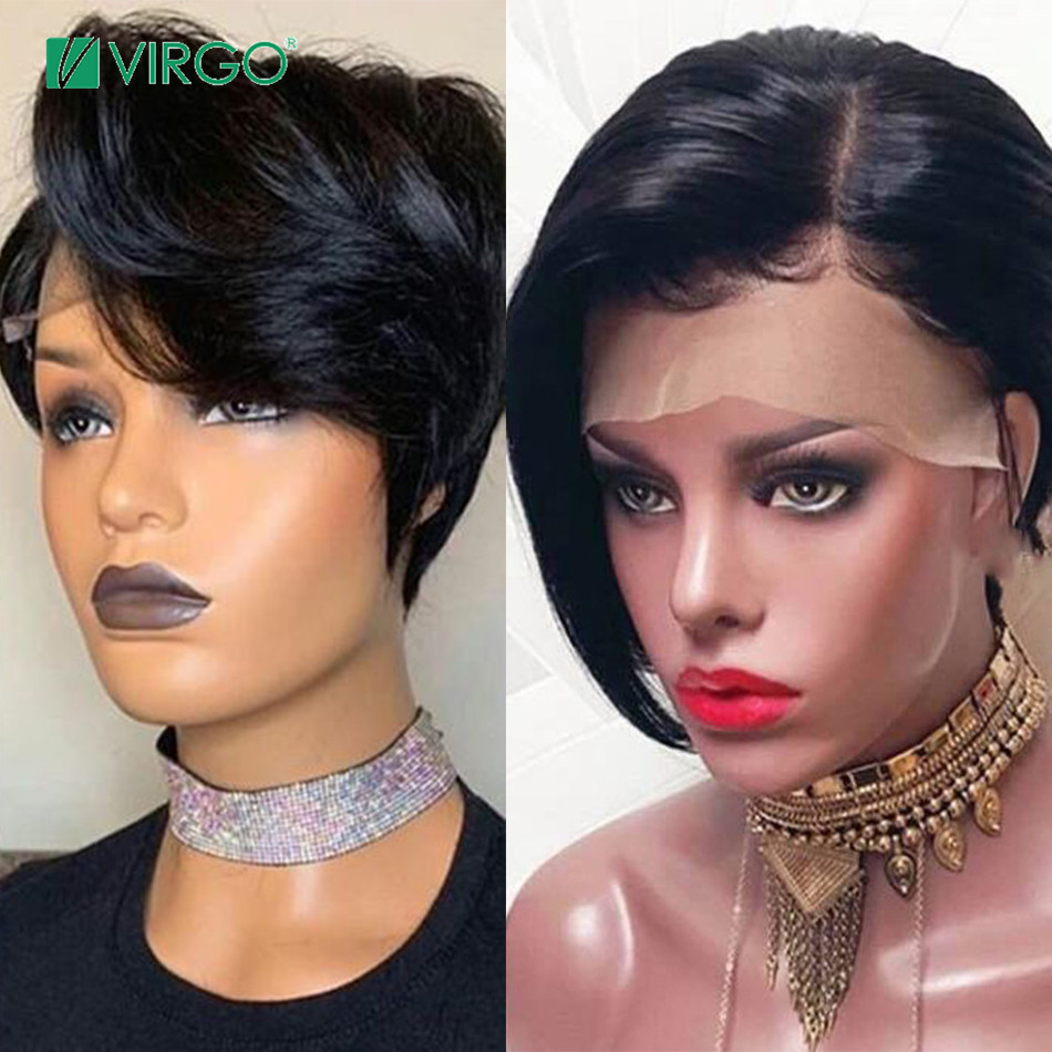 Virgo Brazilian Short Bob Pixie Cut Wig Lace Front Human Hair Wigs For Black Women Pre Plucked Hairline Remy Free Shipping