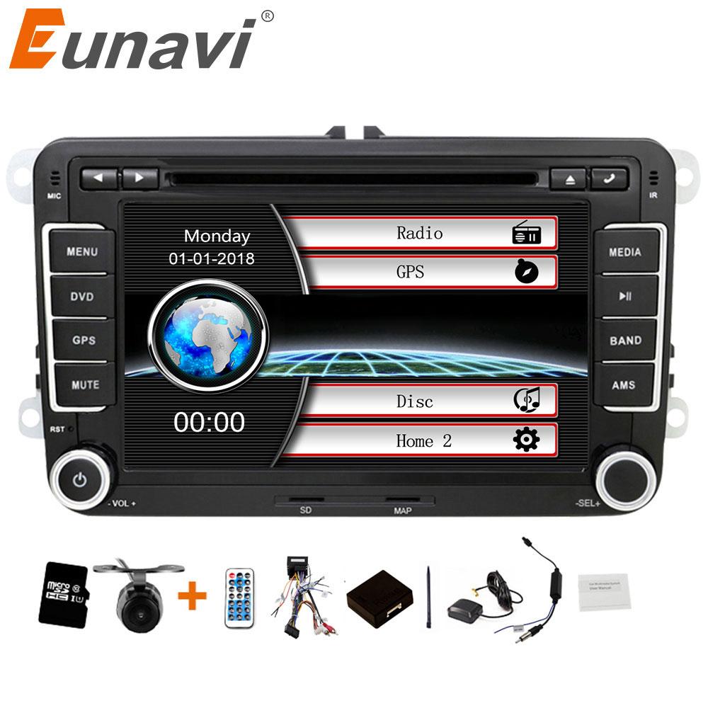 Eunavi 2 din 7 pouces lecteur DVD de voiture autoradio GPS pour VW GOLF POLO JETTA TOURAN MK5 MK6 PASSAT B6 avec stéréo, bluetooth, swc, FM/AM