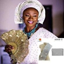AS016 Новое поступление Африканский Aso Oke головной убор с аппликацией дамские gele wrap 17,2 метров многоцветные доступны для невесты и вечерние