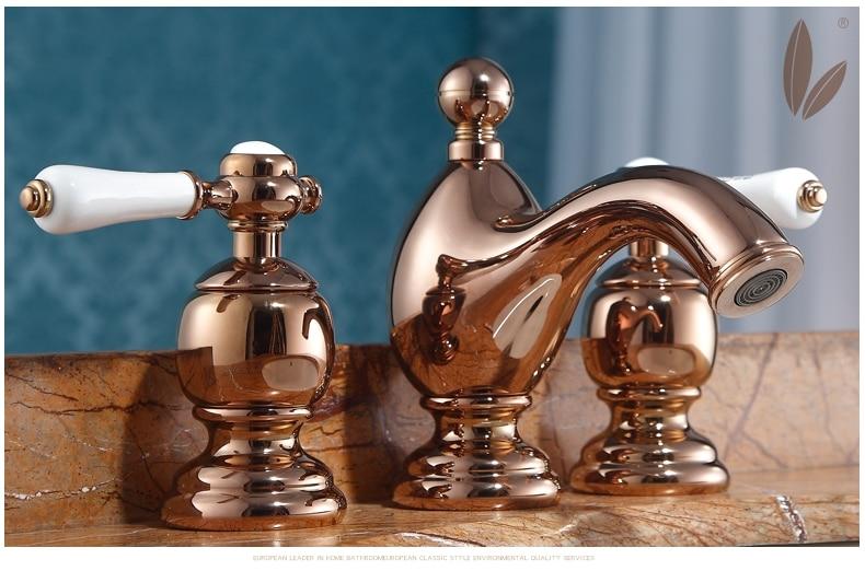 Robinet de lavabo à trois trous en laiton européen, couleur or Rose, armoire de salle de bains de luxe, robinet à double poignée pour eau froide et chaude
