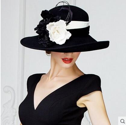 women fashion lady hat elegant ladies big hats woolen caps banquet fedoras  felt adult ladies formal brief lady hat flower w44 0201e75421e