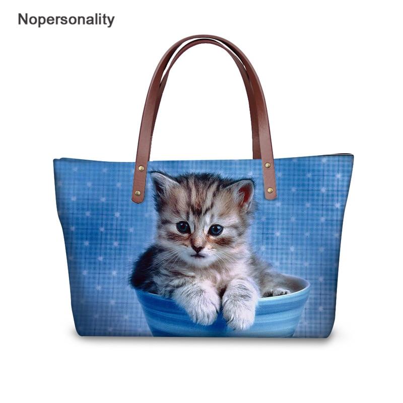 Nopersonality Cat Pattern Top handle Bags Personality Design Casual Female Ladies Tote Bags Famous Brands Neoprene Handbags