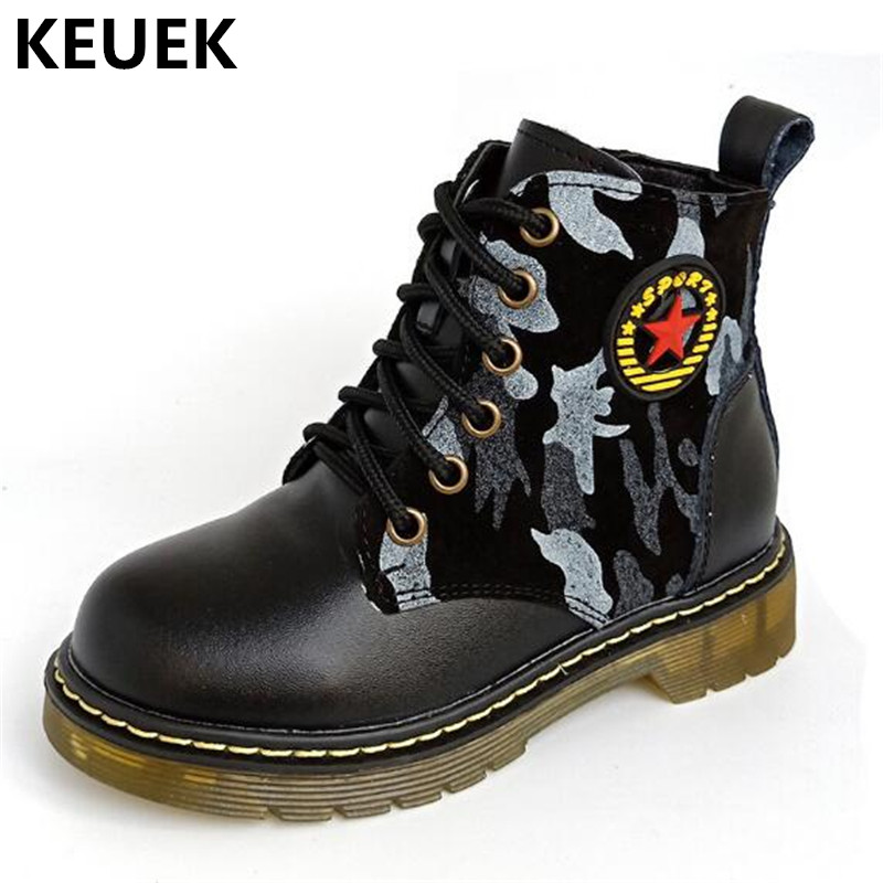 New Children Military boots Student Camouflage Ankle Boots Boys Girls Genuine Leather Boots Student Baby Toddler Shoes Kids 03 casio ga 100ly 1a
