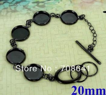 Blank Bracelet Bases Settings 20mm Round Crown Bezel Tray Cabochon Bangle Bracelet Findings DIY Gunmetal black tone Wholesale