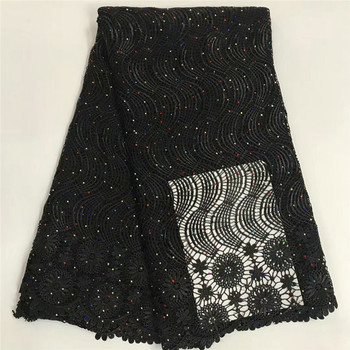 ARW48 Free Shipping embroidered waves and flowers with colourful stones Water Soluble lace good quality African Cord lace Fabric