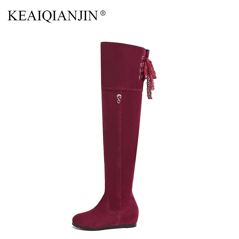 KEAIQIANJIN Woman Genuine Leather Knee High Boots Plush Plus Size 33 - 40 Winter Shoes Black Red Genuine Leather Knee High Boots цена