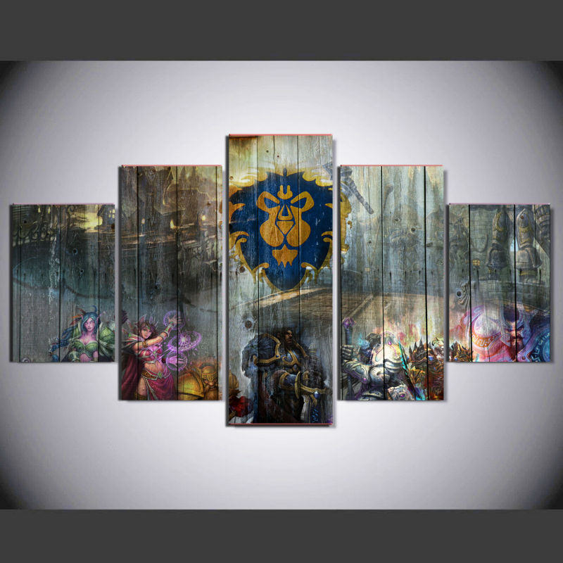 5 panels canvas print wall art picture home decor guitu 012 online game fighters