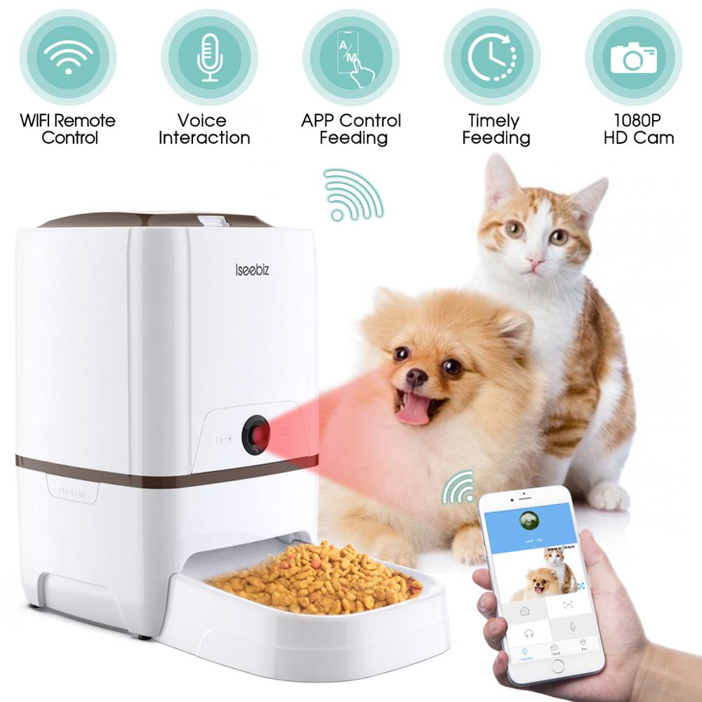 Iseebiz 6L Pet Feeder Wifi Remote Control Smart Automatic Pet Feeder Dogs Cat Food Rechargable With Video Monitor High Quality image