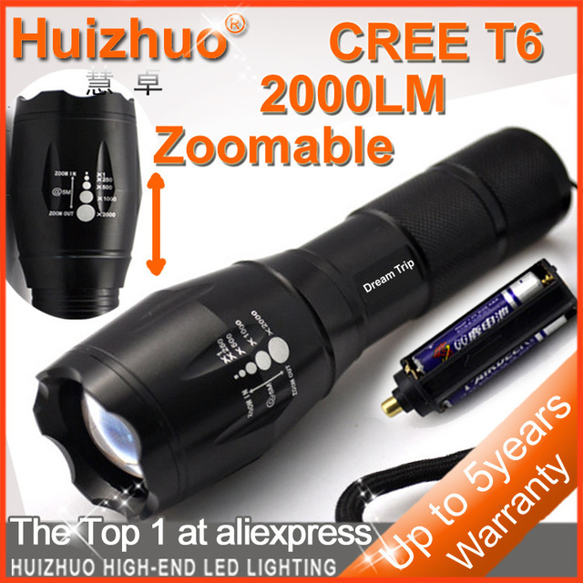 [Dream Trip]CREE XM-L T6 2000Lumens Torch Zoomable LED Flashlight Water-proof with battery holder and 18650 casing