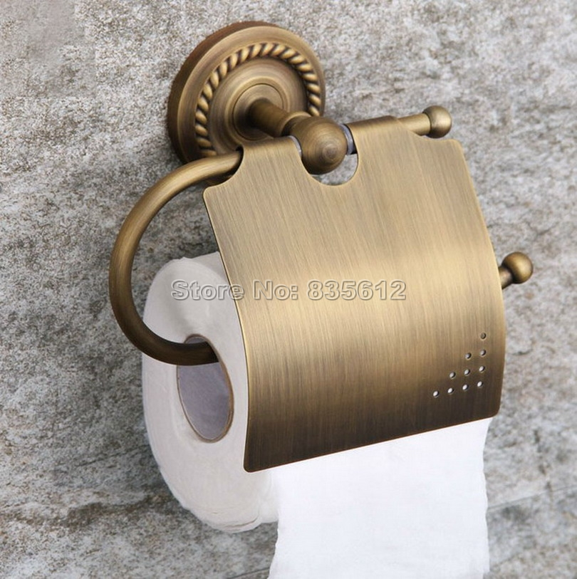 Bathroom Accessory Wall Mount Antique Brass Toilet Paper Roll Holder Wba106