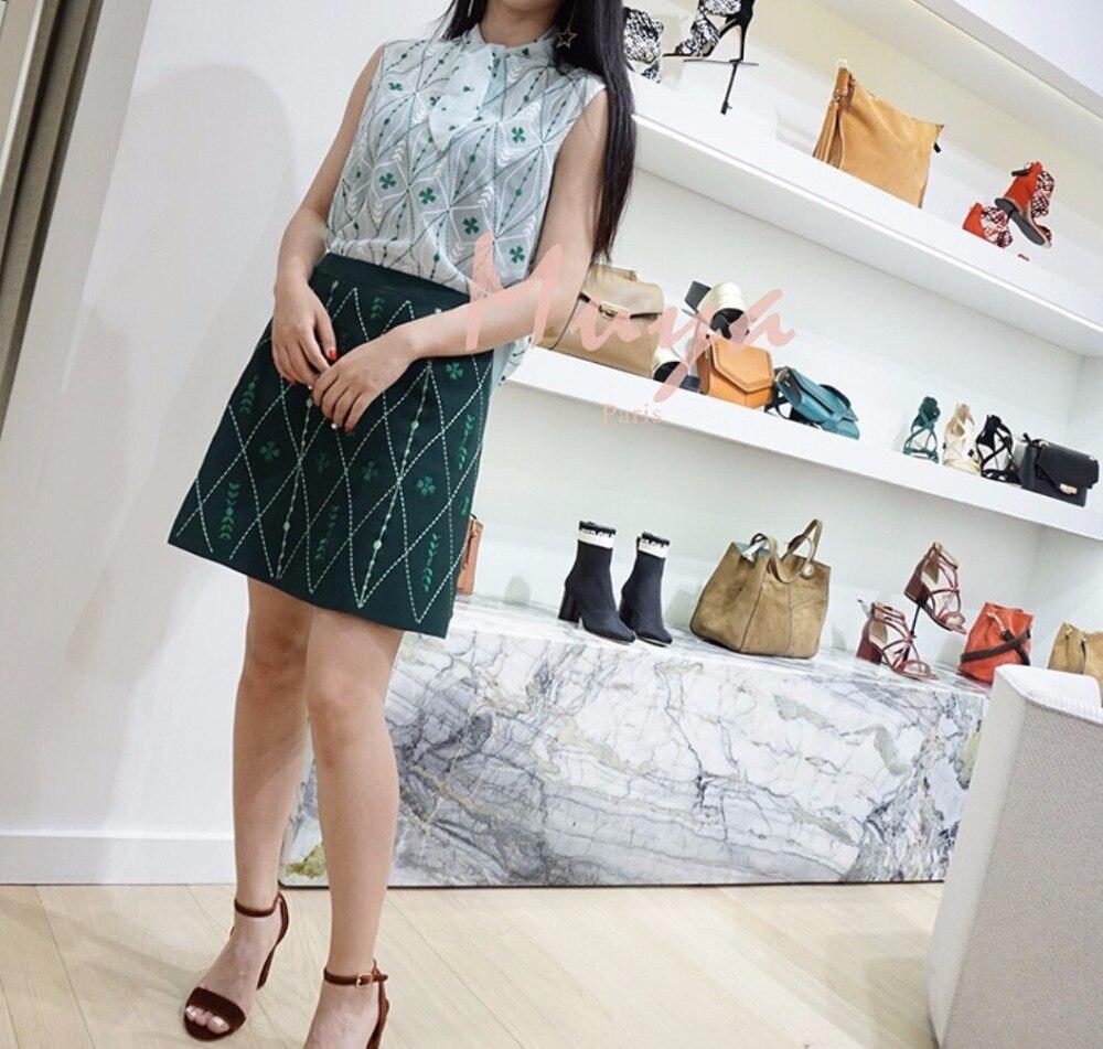 Verde Manera 2018 Faldas De Pesado Mujeres Punto Nueva Verano Geométricas Señora La Elegante Bordado qOY1q