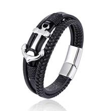 Men's boat anchor combination stainless steel leather bracelet set 16-strand padded leather rope lady magnet bracelet bracelet