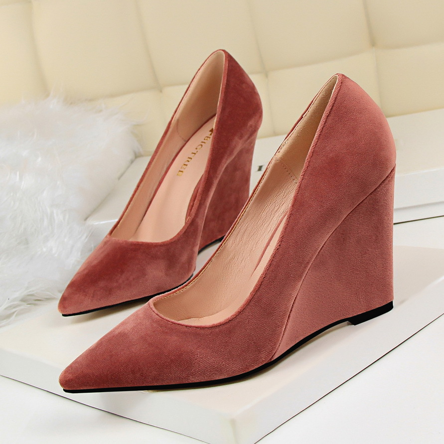 BIGTREE Spring Autumn Suede Shallow mouth Pointed Sexy Was thin women pumps Simple Slope with10 CM Fine high heels shoes 14cm sexy fine with nightclub shiny diamond high heels spring and autumn shallow mouth princess wedding shoes