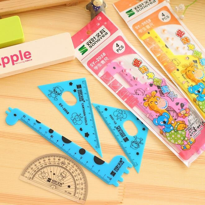 1packs/lot 15cm Lovely Cartoon Animal Giraffe Style Straight Ruler Set Measure Tool Drawing Template Office School Accesssories