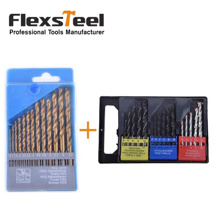 Flexsteel 16PCS Twist Wood Masonry Metal Combination Drill Bit Set Brocas Kit + 13PCS HSS Titanium Twist Drill Bits Set to Metal tesys k reversing contactor 3p 3no dc lp2k1201zd lp2 k1201zd 12a 20vdc lp2k1201ud lp2 k1201ud 12a 250vdc coil