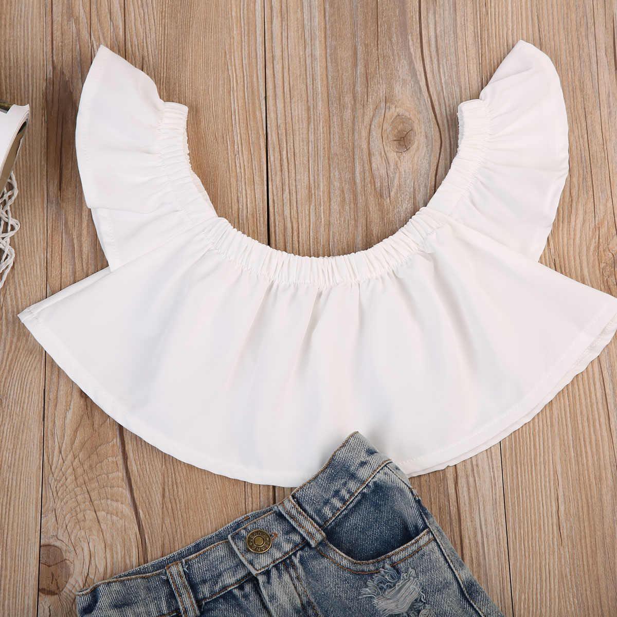 Bayi Street Style Pakaian Set Bayi Anak-anak Bayi Anak Perempuan Off Bahu Tops Blouse + Ripped Lubang Denim Jean Celana Pakaian