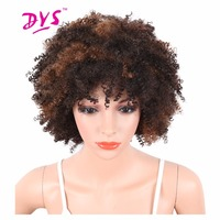 Deyngs Synthetic Short Women Wigs Afro Kinky Curly Black To Brown Color Natural African American Heat