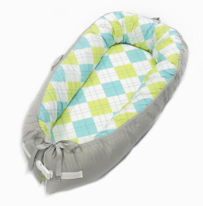 Детская кроватка-гнездо переносная съемная и моющаяся кроватка дорожная кровать для детей Младенческая Детская Хлопковая Колыбель - Цвет: Colorful Squares