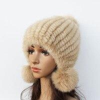 2015 New Mink Hat Ladies Fashion Fox Fur Ball Fur Hat Mink Knit Hats Casual Mink