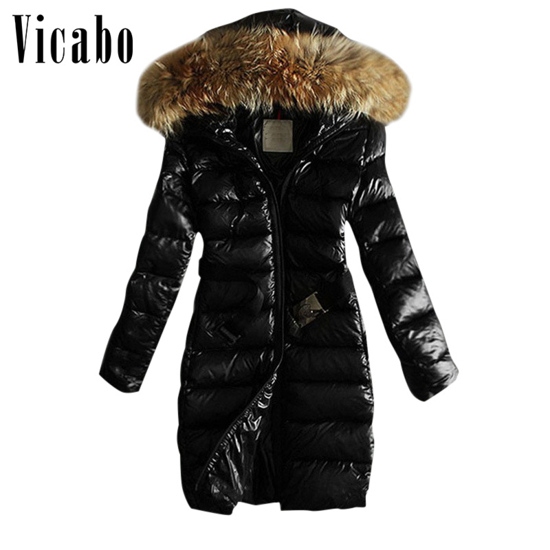 Vicabo Winter Warm Hooded   Parka   Cotton Long Coat Women Outwear Down Jacket Coats Plus Size Fur   Parkas   Female Belt Slim Fur Coat
