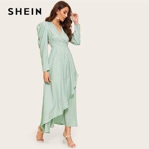 Image 4 - SHEIN zielona komoda dekolt zebrany rękaw asymetryczna hidżab prosta sukienka kobiety V Neck bufiaste rękawy wysoka talia długa linia sukienka