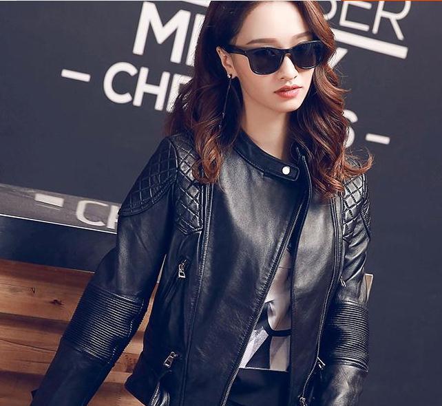 Livraison gratuite, Marque de mode noir Véritable en cuir femmes mince vestes. Cool Asiatique taille femelle 100% veste en peau de mouton, ventes. femme de