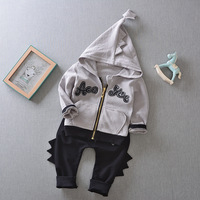 Fashion Baby Boys Dinosaur Hooded Zipper Shirt Pants Suit Spring New Children Clothing Sets Trendy Boy
