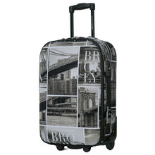 """DAVIDJONES  1 Piece 28"""" luggage fixed casters rolling Suitcase large capacity vintage print trolley Oxford canves travel case"""