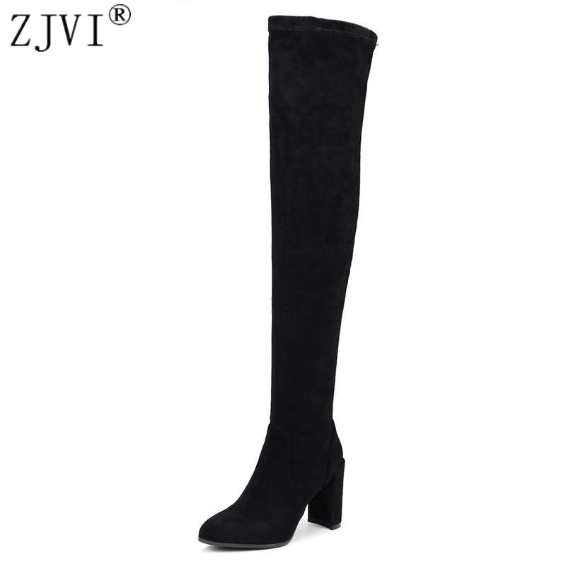 ZJVI women suede stretch high heels over the knee boots 2018 woman genuine leather thigh high boots ladies autumn winter shoes dijigirls new autumn winter women over the knee boots shoes woman fashion genuine leather patchwork long high boots 34 43