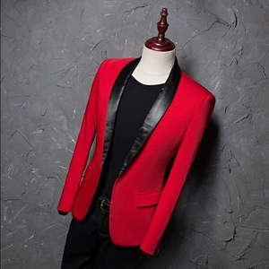 Image 3 - PYJTRL Mens Red Shawl Collar Single Button Suits Jacket Wedding Party Business Casual Blazer Coat Masculino Slim Fit Men