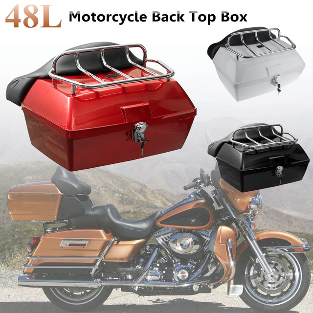 Beau 48L Universal Motorcycle Rear Storage Box Tail Luggage Trunk Case Toolbox  Scooter Motorbike