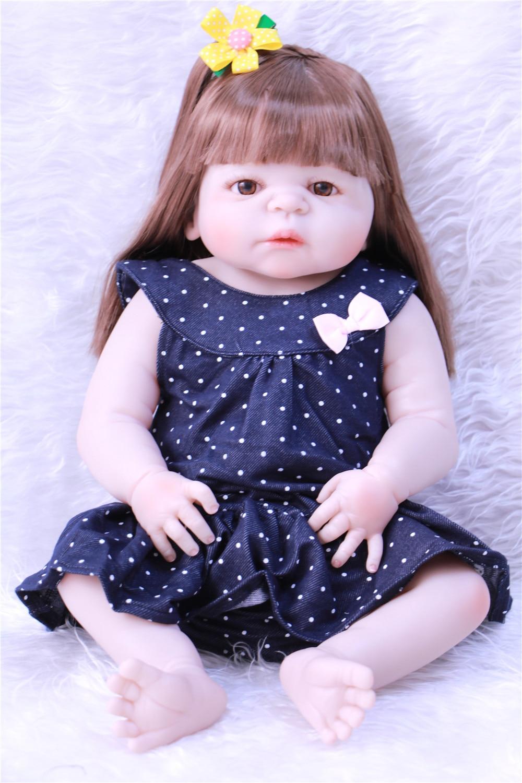 Full Body Silicone Reborn Baby Doll Girl Newbron Lifelike Baby-Reborn Princess Doll Birthday Christmas Gift Girl кукла 44271926101 usa berenguer reborn baby doll