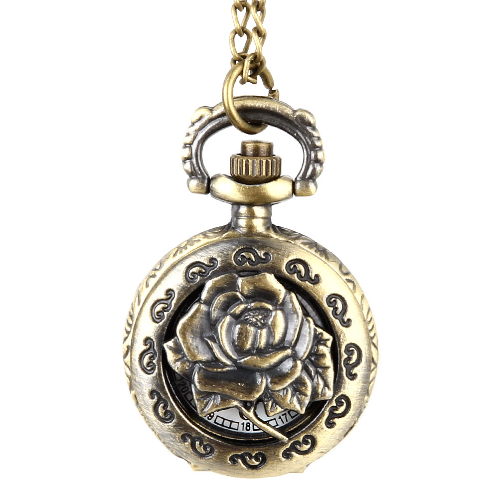 Fashion Vintage Quartz Pocket Watch Alloy Hollow Out Flowers Women Lady Girls Necklace Pendant Sweater Chain Clock Gifts  TT@88