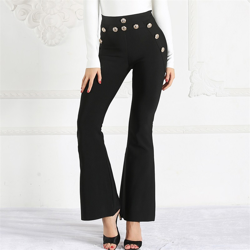 Black High Waist Pants Women 2019 Spring Summer New Bodycon Botton Trousers Ladies Celebrity Party Skinny Long Flare Pants-in Pants & Capris from Women's Clothing    2