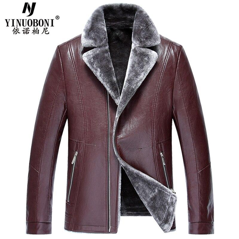 2017 Famous Designer Thick Warm Winter Men Faux Fur Leather Jackets Automotive Style Fur Lined Leather Jackets Mens 2017 Y6036