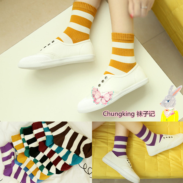 6 par/lote Mujeres calcetines harajuku caramelo casual rayas calcetines colorvintage terlik primavera otoño señoras de la muchacha del arco iris calcetines