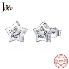 JOVO Trendy Fine Jewelry women five-pointed star earrings sterling 925 silver big Cubic zircon lady wedding personality gift стоимость