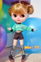 Free Shipping High Quality Handmade 3pcs Set Shirt Shorts Letter Socks Doll Clothes For Blythe Azone